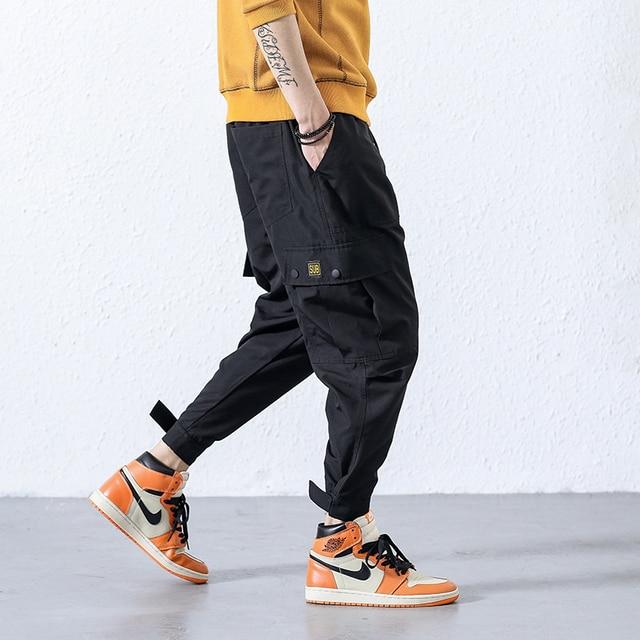 2018 new Japanese men's fashion feet leisure trouser Hip Hop Cargo Pants Streetwear Men Harem Pant Multi Pocket Camouf Trousers