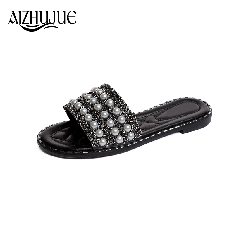 Slippers Womens Zapatos Mujer 2018 Ladies Slip On Sliders String Bead Flat New Fashion Female Casual Slipper Flip Flop Sandal