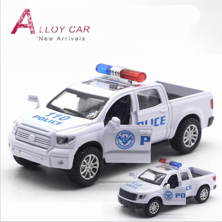1:32Scale Alloy Pull Back Model Car TOYOTA Tundra Ford Raptor Swat Cop Car Musical&flashing Free Shipping