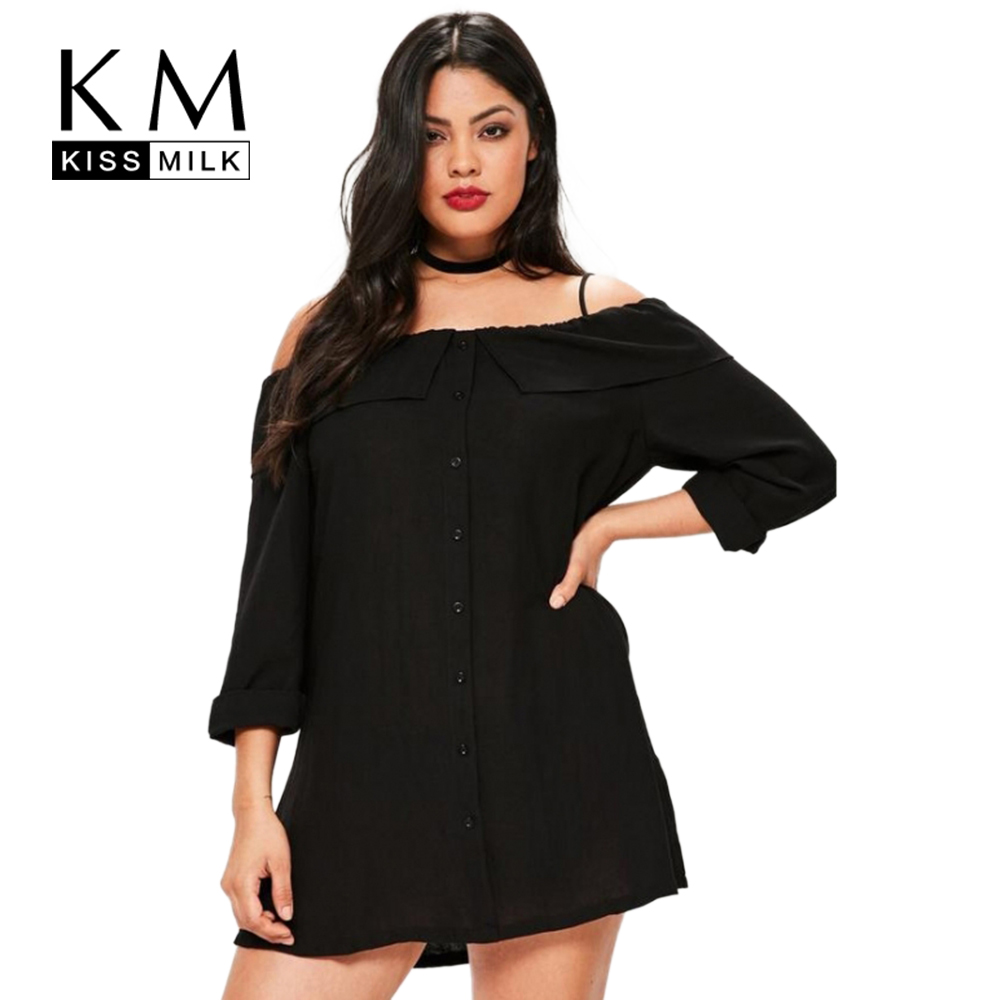 Kissmilk 2018 Big Size Fashion Women Clothing Casual <font><b>Sexy</b></font> <font><b>Slash</b></font> Neck Summer <font><b>Dress</b></font> Loose Full length Plus Size <font><b>Dress</b></font> 4XL 5XL 6XL image