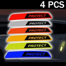 4Pcs Car Safety Reflective Sticker PROTECT Door Paint Waterproof Warning Sign