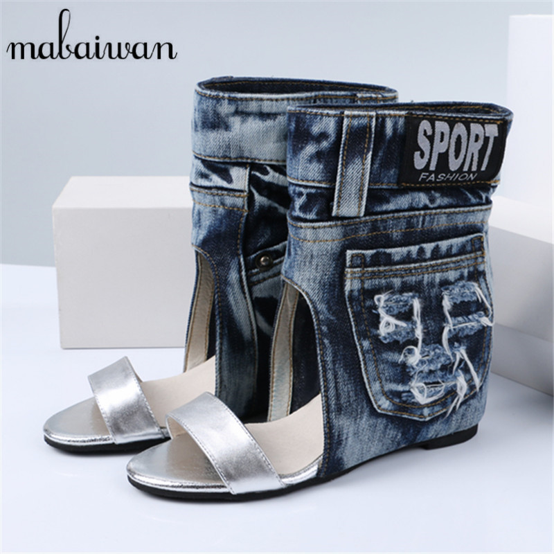 Mabaiwan Women Summer Boots Denim Sandals Peep Toe Ankle Botas High Heels Gladiator Wedge Shoes Woman Height Increasing Wedges купить