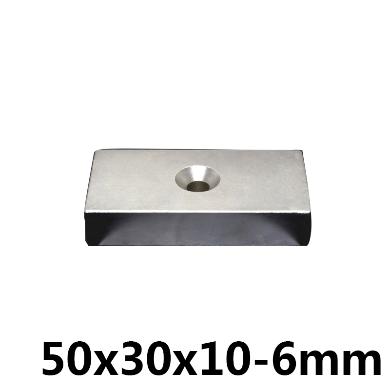 1PCS square block magnet 50*30*10MM two hole 6MM n35 Rare Earth strong Permanent NdFeB Neodymium Magnet1PCS square block magnet 50*30*10MM two hole 6MM n35 Rare Earth strong Permanent NdFeB Neodymium Magnet