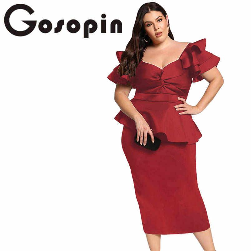 Gosopin Plus Size Dresses Tiered Sleeve Short Sleeve Elegant Party Twisted  Peplum Dress Modern Lady Women Club Dresses LC610552