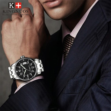 цена на Luxury Men Watches Top Brand Kingnuos Simple Slim Date Quartz Watch Men Wristwatch Business Black Steel Watch Relogio Masculino