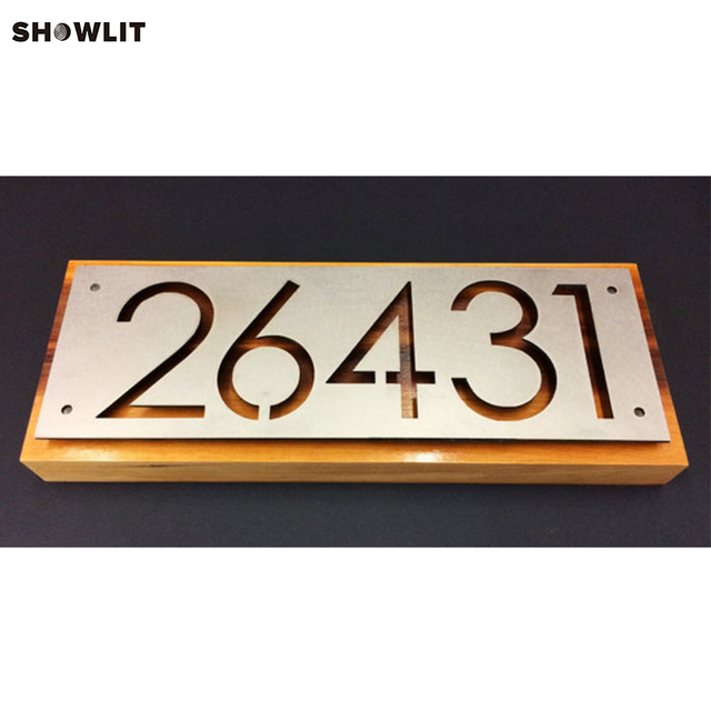 Laser Cut House Number Plate In Aluminum