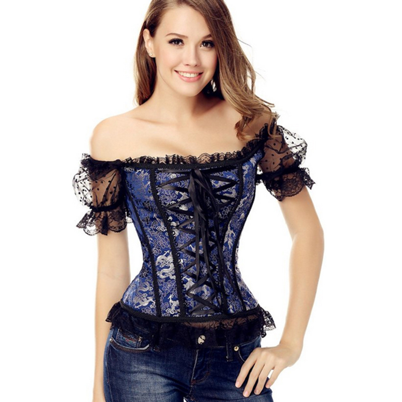 Lace Floral Steampunk Brocade Lace Up Boned Overbust   Corsets   Sexy Off Shoulder Puff Sleeves   Bustier   Top Blue Black Yellow   Corset