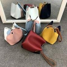 все цены на Panelled bucket crossbody bags for women PU leather handbags patchwork lady shoulder messenger bags tote designer bolsa feminina