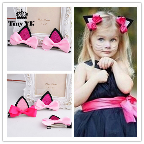 2 pieces =1 pair children baby girls hair accessories clip Kids hairpins barrettes Bow headwear flower  cat ears hairpin 8 pieces children hair clip headwear cartoon headband korea girl iron head band women child hairpin elastic accessories haar pin
