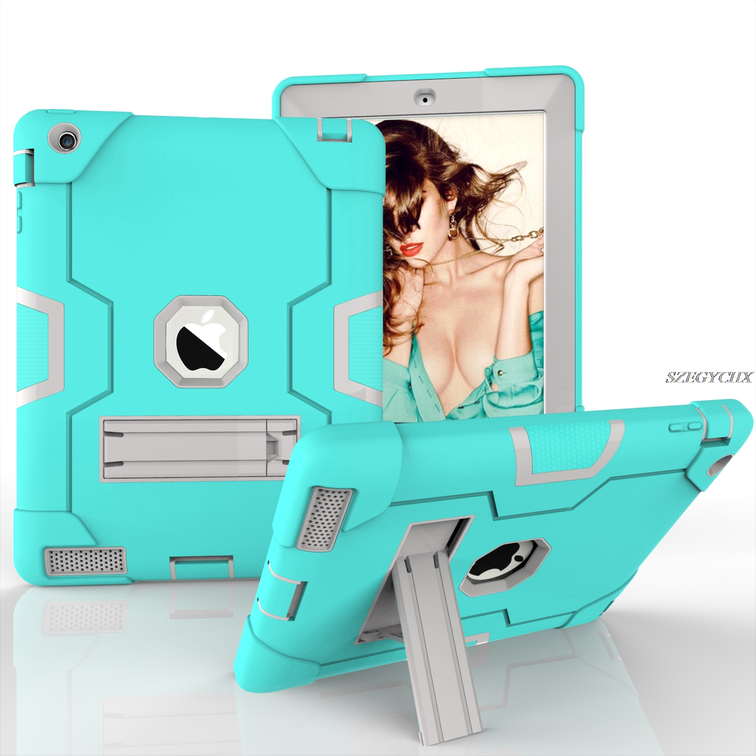 For iPad 2 3 4 Universal Hybrid Shockproof Protect Armor Tablet Case For apple iPad 2 iPad 3 iPad 4 Smart Stand Cover case for ipad pro 12 9 case tablet cover shockproof heavy duty protect skin rubber hybrid cover for ipad pro 12 9 durable 2 in 1