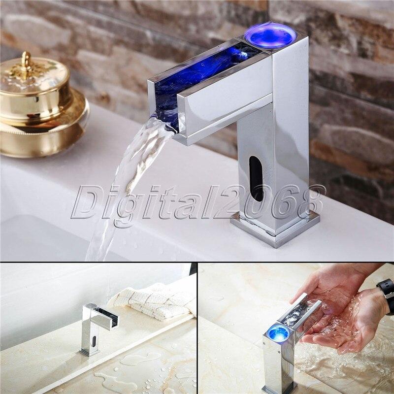 Wasserfall Sensor Wasserhahn Glas LED Auslauf Badezimmer Waschbecken