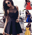 2017 costura sexy dress mulheres lady meninas casual feminina verão sexy sem mangas rendas patchwork o pescoço mini vestido de verão dress