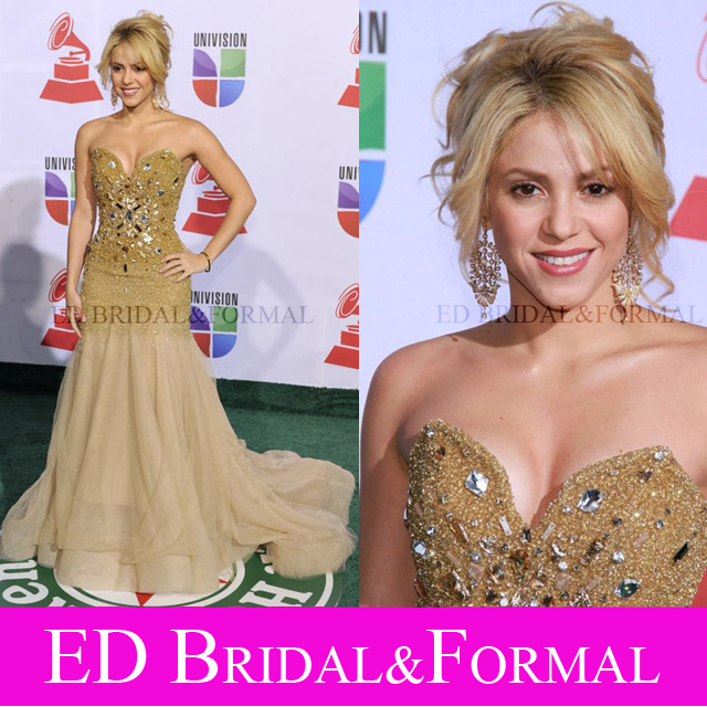 Shakira Champagne Heavy Beaded Dress 12th Annual Latin Grammy Awards ...