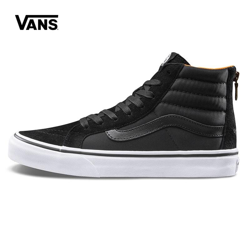Original New Arrival Vans Womens Classics SK8-Hi Slim Zip Skateboarding Shoes Sneakers Canvas Sport Outdoor VN0A38GROC6 popular white cattle hide zip womens sneakers
