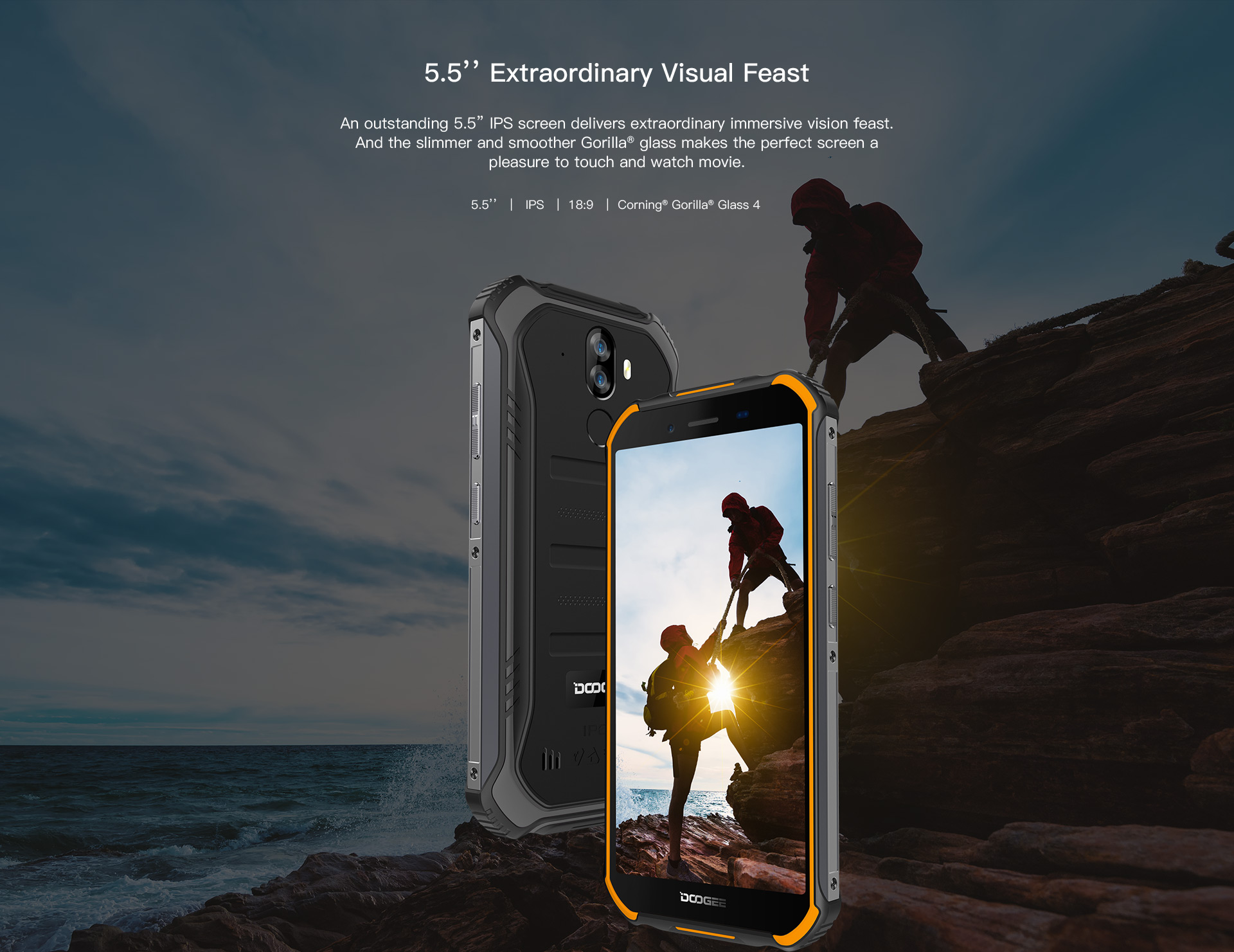 "HTB19NZOMY2pK1RjSZFsq6yNlXXaJ Upgrade 3GB+32GB DOOGEE S40 5.5""HD 4G network  Mobile Phone IP68 Waterproof 4650mAh 8MP MT6739 Android 9.0 Pie Smartphone"