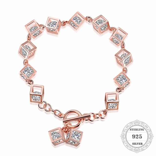 Hemiston 100% 925 Sterling Silver Rose Gold Color Cube Charm 18CM Bracelets & Bangles, Fine Jewelry Gift for Women PB013