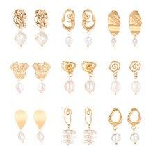 Vintage Irregular Pearl Geometry Korean Pendant Earrings 2019 New Fashion Statement Female DIY Brincos Jewelry Party Gift