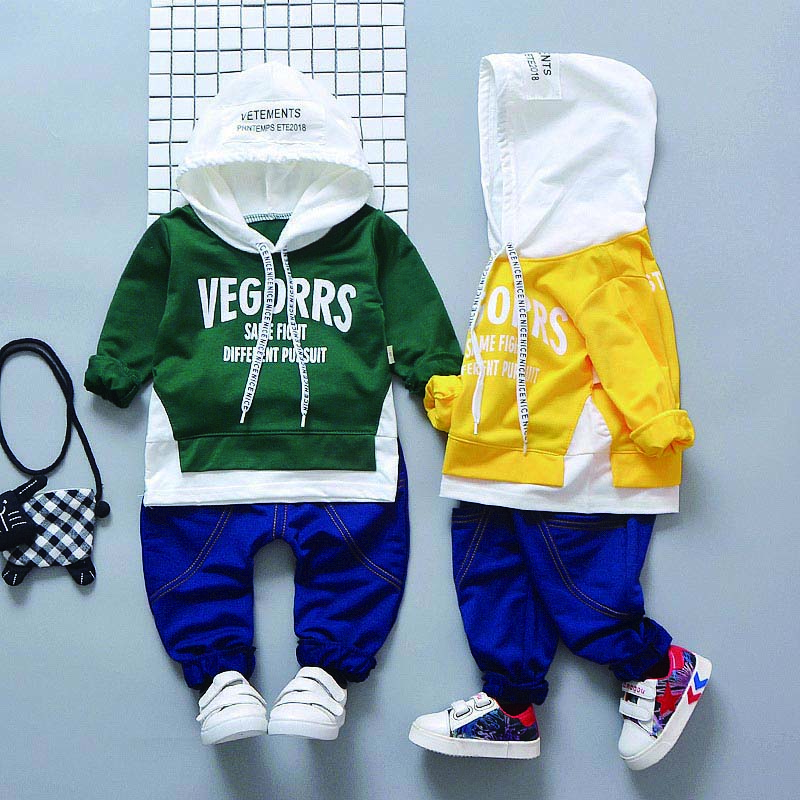 Children Four Seasons Concise Casual Long Sleeve Color-blocked Hooded T-shirts + Letter Printed Pants 2pcs Unisex Set