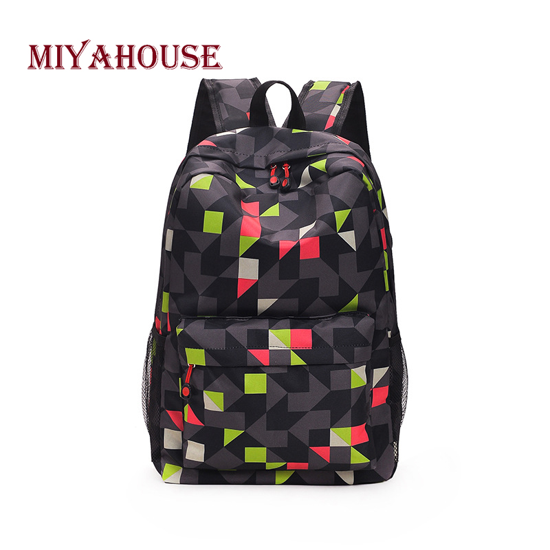 Miyahouse New Arrival Backpack Women Korean Fashion Geometric Design School Bags For Student Nylon Hit Color Travel Backpack