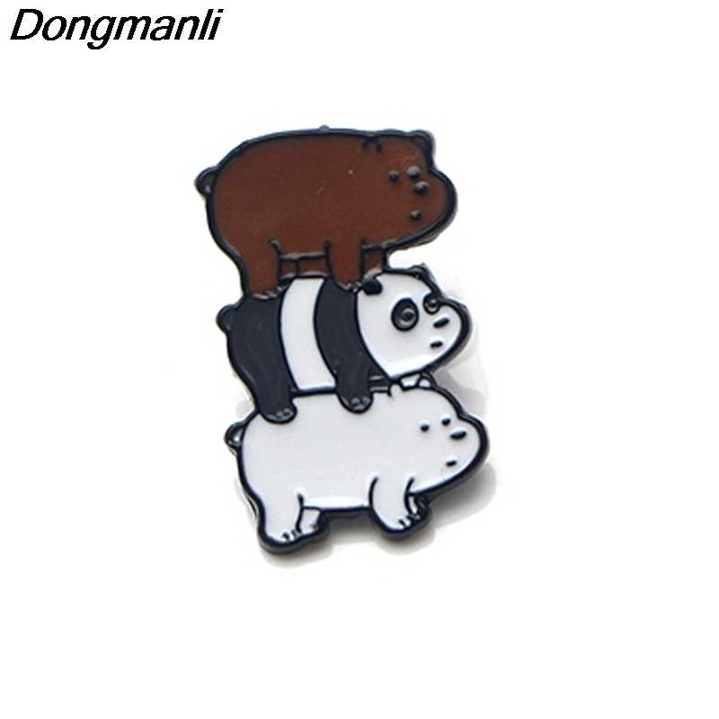 P3371 Dongmanli We Bare Bears Enamel Pins and Brooches for Women Men Lapel Pin backpack bags badge Gifts for Kids