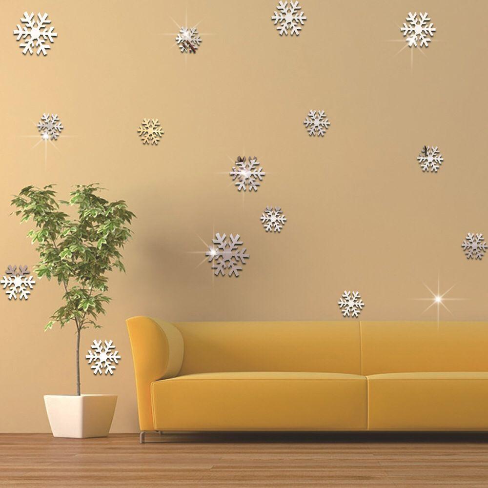 Christmas snowflake decorative mirror wall stickers children\'s room ...