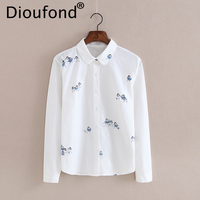 Dioufond Cartoon White Pink Women S Shirts Cotton Casual Women S Blouse With Turn Down Collar