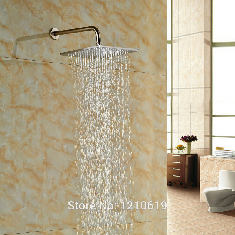цена на Uythner Newly Bathroom Shower Head w/ Arm Nickel Brushed 10 Inch Top Shower Sprayer Head Wall Mounted
