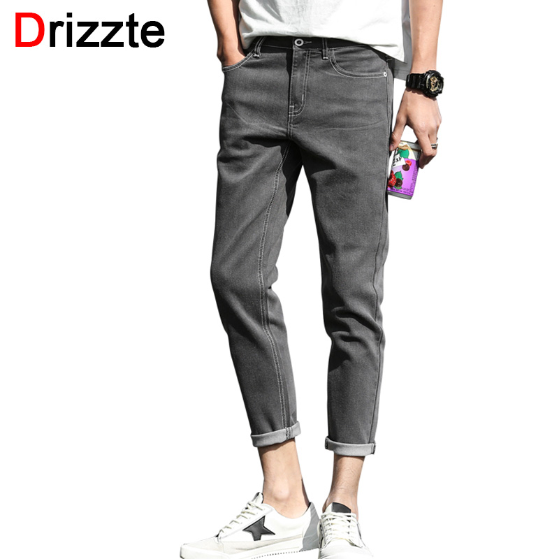 Drizzte Ankle Jeans Men Fashion Stretch Grey Denim Slim Fit Jeans for Men Soft Comfort Jean Trousers Pants pregnancy belly nudeskin 1500g silicone belly soft lifelike moq1 free shipping fake belly for crossdresser drag queen xinxinmei