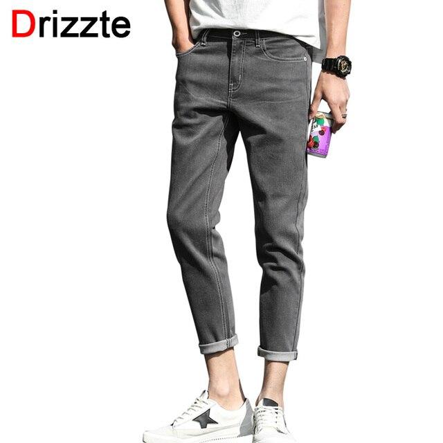 1d67b63bd68ef Drizzte Ankle Jeans Men Fashion Stretch Grey Denim Slim Fit Jeans for Men  Soft Comfort Jean