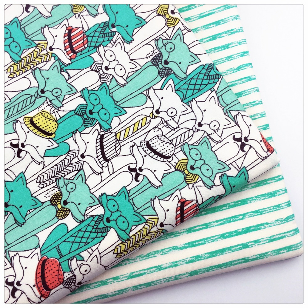 Cartoon fox printed twill cotton fabric for diy sewing for Children s character fabric