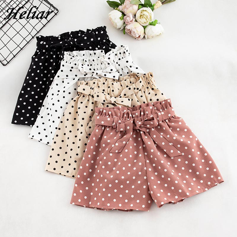 HELIAR Polka Dots Shorts Femme Solid Lady Hot Short Bow Knot Panties Elastic Shorts Beach Femme With Belts 2019 Summer Shorts
