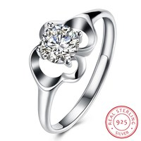 Fashion Jewelry ring AAAAA zircon cz 925 Sterling silver Flower Engagement Wedding Band Ring for women R0053