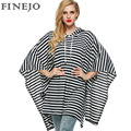 FINEJO Hoodies Stripe Pullover Batwing Three Quarter Sleeve Fashion Casual Loose Long  Sweatshirt Hooded Autumn Women Tops