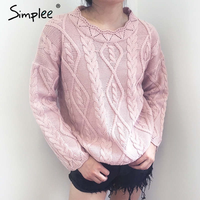 b85e243b1d Simplee Casual tricot knitted sweater pullover Women round neck pink loose  winter sweater Elegant autumn white