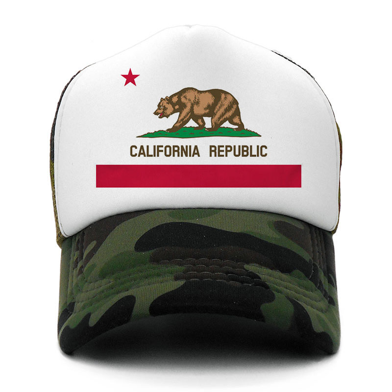 Bear California Republic Flag   Cap   Men Women Cool Summer Mesh   Baseball     Caps   California Trucker   Cap   Casual Dad Hat 2019 New