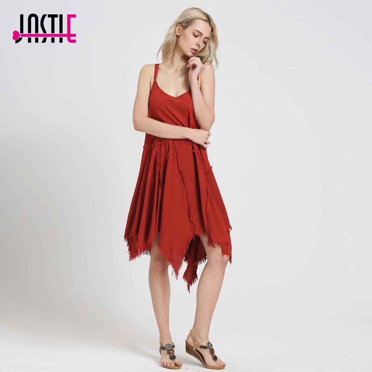 Jastie Double Straps Super Soft Racerback Slip Dress Women Dress Frayed Design Hemline Tattered Up Shred Slip Under Dresses 8083