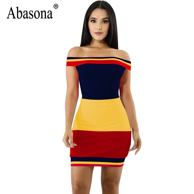 265a0fb025c Abasona Women t Shirt Dress Summer Off Shoulder Striped Mini Dress Bodycon  Sexy Party Club Women Strapless Dresses Robe Femme