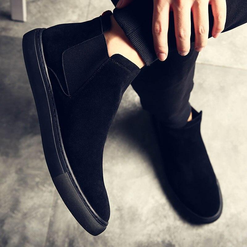 2019 новые зимние мужские замшевые кожаные ботинки челси без шнуровки универсальные черные ботильоны обувь резиновая подошва повседневные мужские S