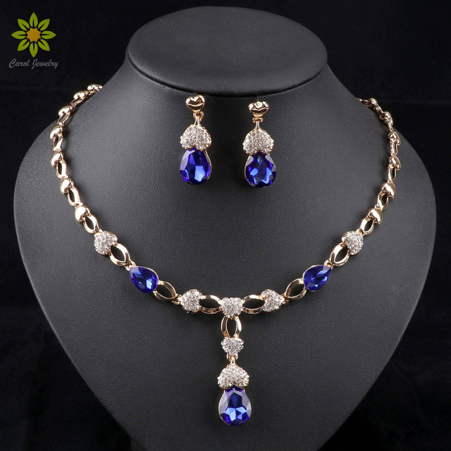 African Wedding Jewelry Set Gold Color Women Dress Accessories Blue Crystal Neck