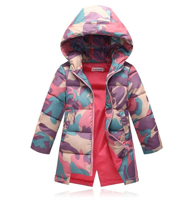 2016 new children camouflage jackets girls hooded long coats kids winter cotton outwear 120-150 cm