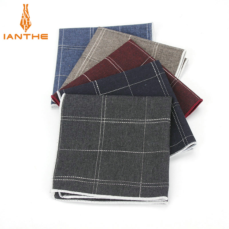 Brand High Quality Hankerchief Scarves Plaid Business Suit Hankies 100% Cotton Casual Men's Vintage Pocket Square Handkerchiefs