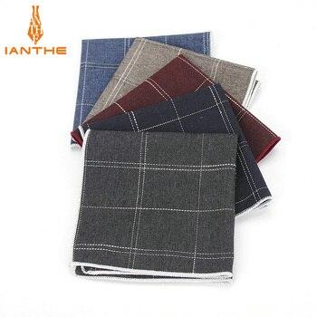 Brand High Quality Hankerchief Scarves Plaid Business Suit Hankies 100% Cotton Casual Men's Vintage Pocket Square Handkerchiefs