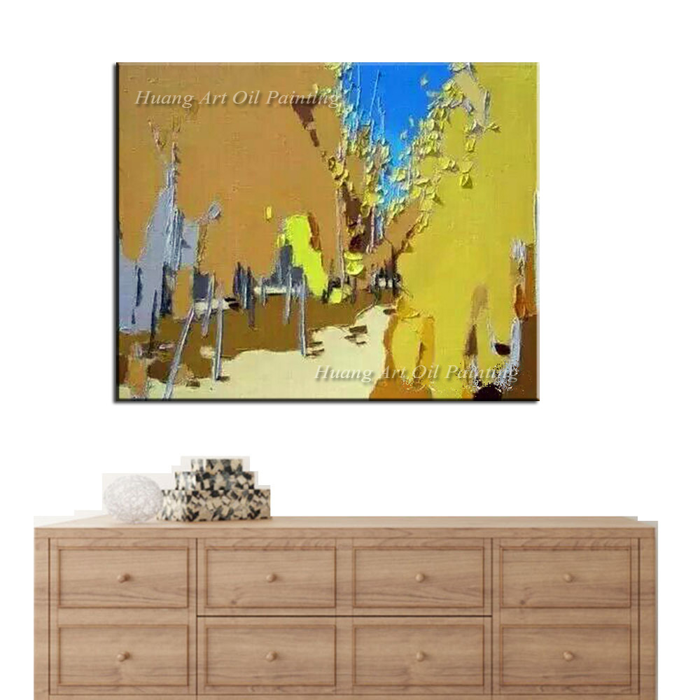 Yellow Street Landscape Paintings Hand Painted Knife Oil Painting on Canvas Handmade Wall Painting for Christmas Gift Paintings