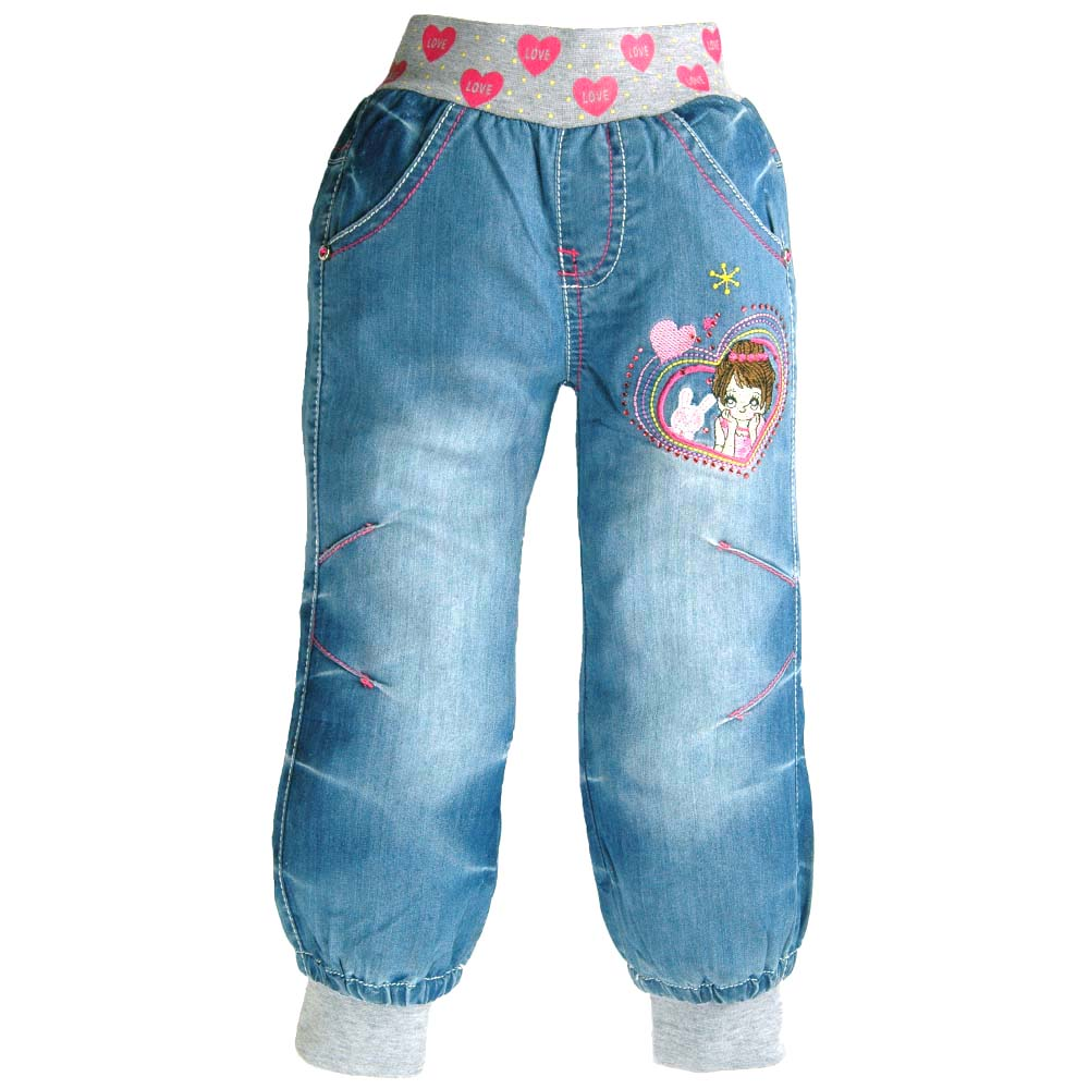 Children Jeans 2-9Y Teen Girls Denim Trousers Bunny Embroidery Red Rhinestone Elastic Sarouel Harem Capris Pants MH2931