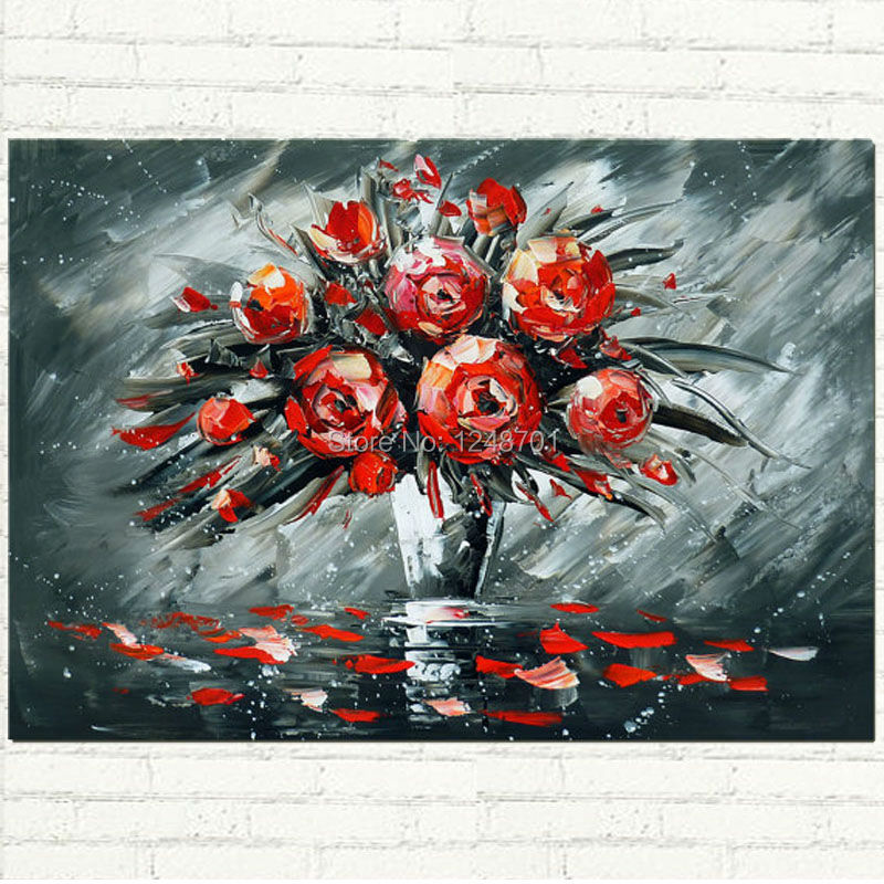 Vase of Roses Palette font b Knife b font Painting Hand Painted Abstract Flower Oil Painting