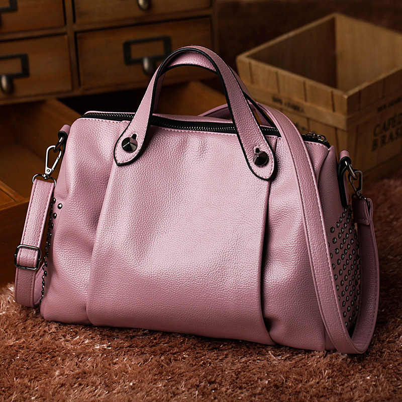 ФОТО 2017 New Fashion Women Leather Handbags For Vintage Rivet Shoulder Bags High Quality Top-Handle Bags Women Messenger Bags Tote