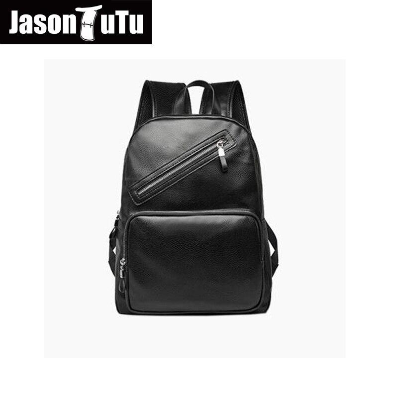 JASON TUTU laptop backpack / High quality PU black backpack school back pack /2017 promotions mochila Leather backpack B233