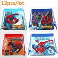 12 unids/lote nuevos bolsos de escuela niños mochila lazo de la historieta de los muchachos de spiderman mochila mochila escolar a los estudiantes de la escuela infantil