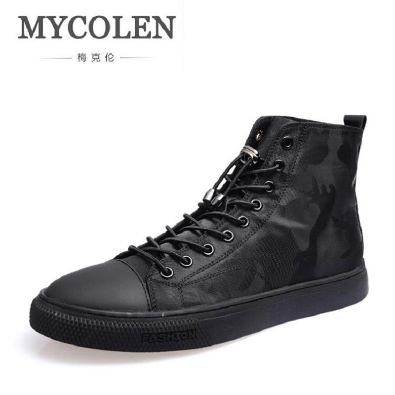 MYCOLEN New Winter Men Casual Shoes Brand Black Fashion Warm Shoes Handmade Camouflage Leather Male Shoes Chaussures Hommes