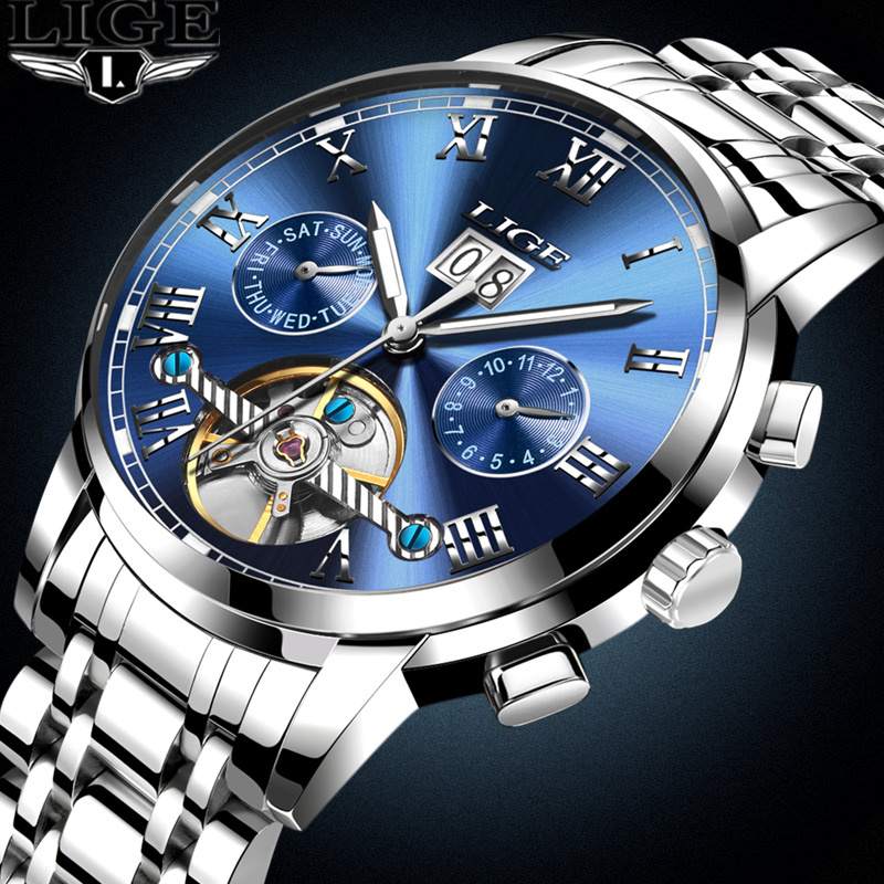 New 2017 LIGE Brand Watch Men Top Luxury Automatic Mechanical Watch Men Stainless Steel Clock Business Watches Relogio Masculino new business watches men top quality automatic men watch factory shop free shipping wrg8053m4t2